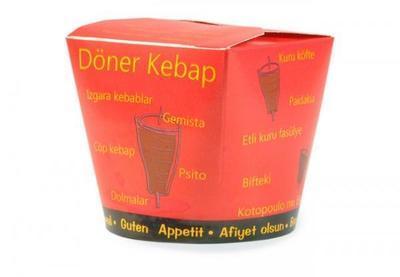 Papírový box červený: Kebap 500ml / 50ks - 1